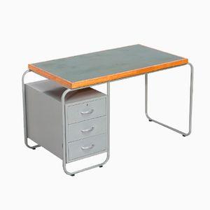 Industrieller Schreibtisch aus Rohrstahl & Linoleum von Gispen, 1940er