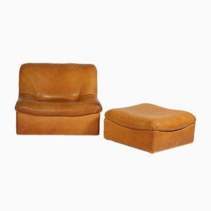 DS-46 Sessel und Hocker aus Büffelleder von de Sede, 1970er