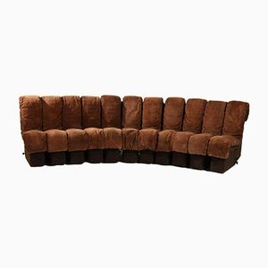 DS 600 Non Stop Modular Sofa in Brown Leather by Berger, Ulrich and Vogt for de Sede, 1970s