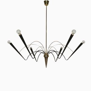 Metal & Brass Chandelier from Stilnovo, 1950s