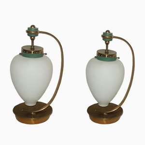 Italian Glass & Brass Table Lamps, 1950s, Set of 2