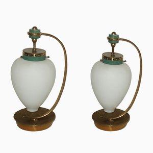 Italienische Glas & Messing Tischlampen, 1950er, 2er Set