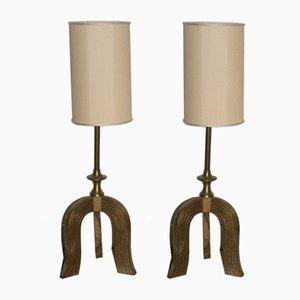 Brass Art Deco Lamps, 1930s, Set of 2