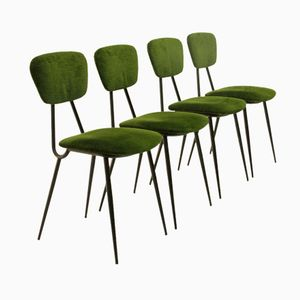 Green Italian Dining Chairs, 1950s, Set of 4