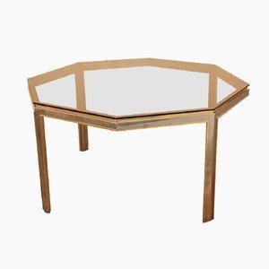 Hexagonal Brass & Metal Table by Romeo Rega for Metalarte, 1970s