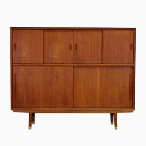 Scandinavian Teak Highboard with Sliding Doors, 1970s