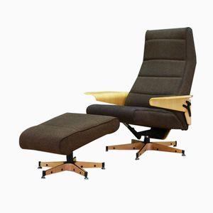 Danish Ash Lounge Chair with Ottoman, 1970s