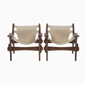 Mid-Century Brazilian Beige Jacaranda Wood and Leather Armchairs by Sergio Rodrigues, 1970s, Set of 2