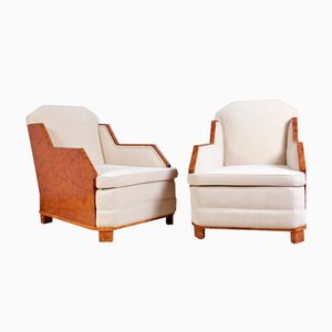 Vintage French Art Deco Walnut Lounge Chairs, Set of 2
