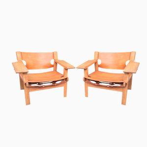 Mid-Century Spanish Stühle von Borge Mogensen für Fredericia, 2er Set
