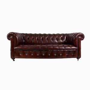 Mid-Century Brown Leather Chesterfield Sofa