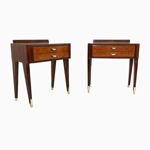 Italian Rosewood Bedside Tables with Glass Tops, 1950s, Set of 2