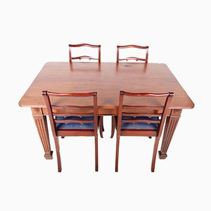 Vintage Mahogany Dining Table & Chairs, Set of 5