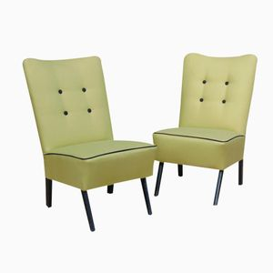 Cocktail Chairs with Contrast Piping, 1950s, Set of 2