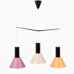 Deckenlampe mit Drei Farbigen Metall Lampenschirmen, 1960er