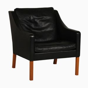 Danish 2207 Black Leather & Oak Chair by Børge Mogensen for Fredericia, 1980s