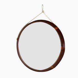 Round Italian Walnut and Brass Mirror with Cord, 1960s