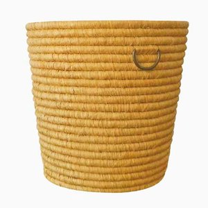 Straw & Brass Paper Basket from Carl Auböck, 1940s
