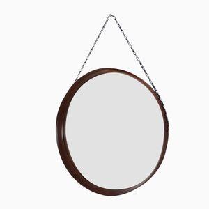 Italian Modernist Walnut Wall Mirror with Chain, 1960s