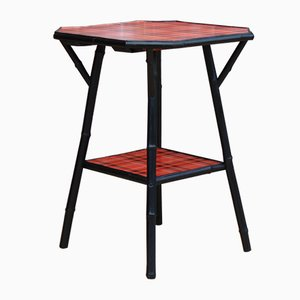 Antique Ebonized Bamboo & Tartan Side Table