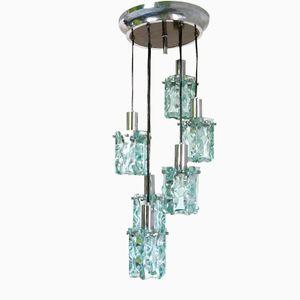 Italian Thick Glass & Steel Pendant Light, 1970s