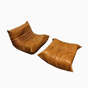 Canap vintage togo beige en cuir par michel ducaroy pour ligne roset 1974 e - Fauteuil togo ligne roset ...