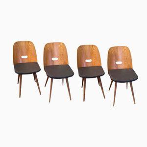 Oak & Gray Fabric Chairs, 1950s, Set of 4