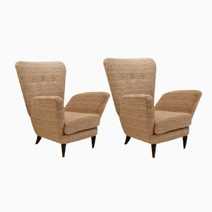 Italian Upholstered Armchairs, 1950s, Set of 2