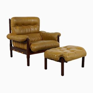 Lounge Chair and Ottoman in Rosewood and Leather, 1960s