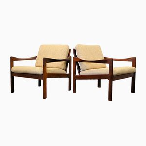Vintage Teak Lounge Chairs by Illum Wikkelso for Niels Eilersen, Set of 2