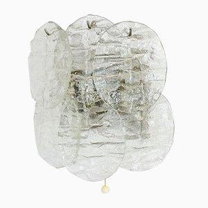 Applique da parete in vetro satinato con 4 luci di Kalmar, anni '60