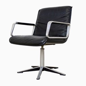 Delta 2000 Swivel Leather Office Armchair from Wilkhahn, 1970s