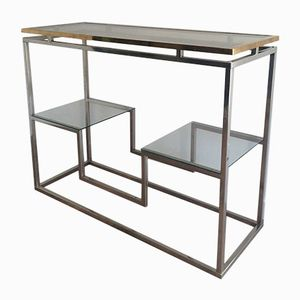 Modernist Chrome and Brass Console, 1970s
