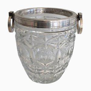 Champagnerkübel aus Kristall & Silbernem Metall, 1930er