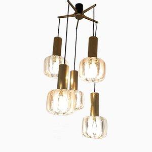 Vintage Glass & Brass Suspension Ceiling Light, 1960s