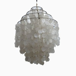 Fun 0DM Mother of Pearl Chandelier by Verner Panton for J. Luber AG, 1960s