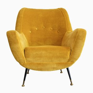 Italienischer Vintage Sessel in Senfgelb