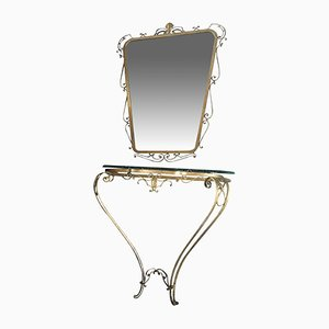 Console Table & Mirror by Pier Luigi Colli for Colli, 1950s