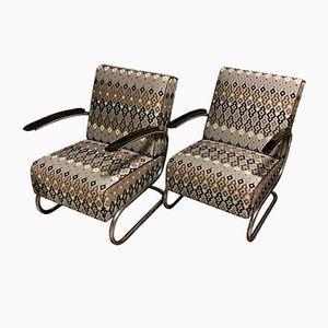 Vintage S-411 Freischwinger Sessel von W. H. Gispen für Mücke Melder, 2er Set