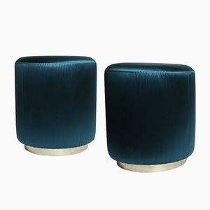 Vintage Brass Poufs with Petrol Blue Upholstery, Set of 2