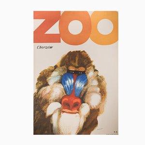 Poster vintage dello zoo Chorzow di Marek Mosiński per RSW Prasa Katowice, 1968