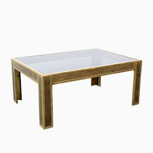 Vintage Solid Brass & Smoked Glass Coffee Table