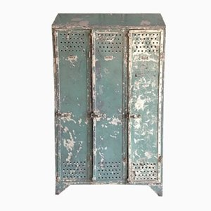 Blue Riveted Industrial Locker, 1920s