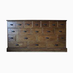 German Pine & Copper Apothecary Bank of Drawers, 1930s