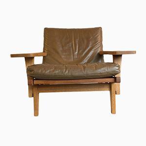 GE375 Sessel auch Eiche & Leder von Hans J. Wegner für Getama, 1960er