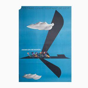 Affiche LOT par Roman Cieślewicz pour WAG, 1957