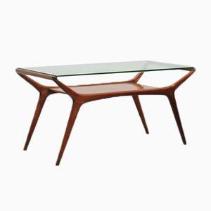 Mid-Century Italian Walnut & Glass Coffee Table by Ico Parisi