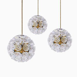 Glas Blumen Hängelampen von VEB Leuchten, 1960er, 3er Set