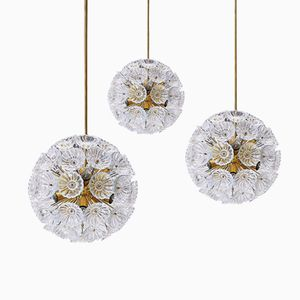 Starburst Glass Flower Pendant Lights from VEB Leuchten, 1960s, Set of 3