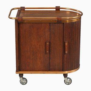 Wooden Bar Cart with Sliding Doors, 1960s